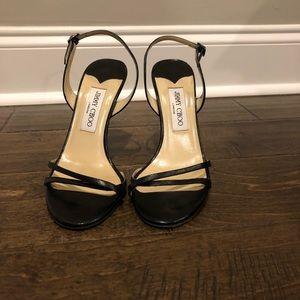 Jimmy Choo Black strappy leather heels